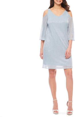 MSK Cold Shoulder 3/4 Sleeve Shift Dress