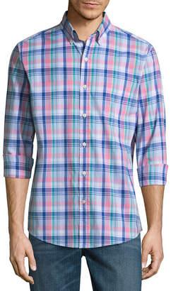 ST. JOHN'S BAY Long Sleeve Plaid Button-Front Shirt