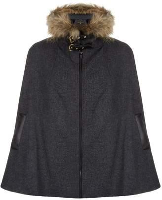 Holland Cooper Fur Trimmed Wool Cape