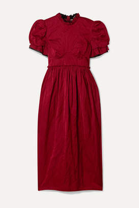 Brock Collection Ruffle-trimmed Crinkled-twill Bustier Dress - Claret