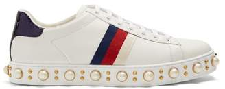 Gucci New Ace Faux Pearl Embellished Leather Trainers - Womens - White Multi