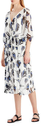 Neiman Marcus Jason Wu Grey Floral Chiffon V-Neck Dress