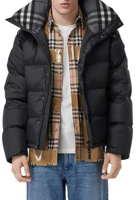 Burberry Men's Lockwell Quilted Puffer Jacket w/ Signature Check Trim