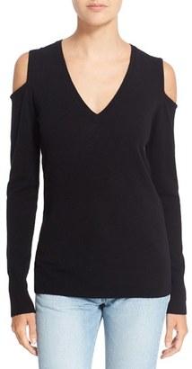 Women's Autumn Cashmere Cashmere Cold Shoulder Sweater $268 thestylecure.com