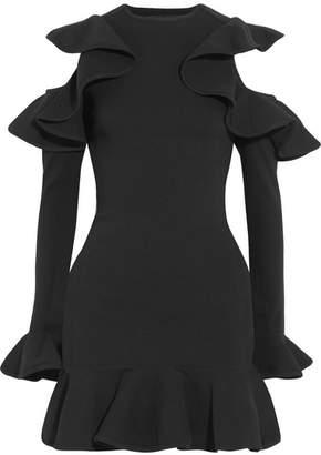 Michael Lo Sordo - Legion Ruffled Stretch-knit Mini Dress - Black