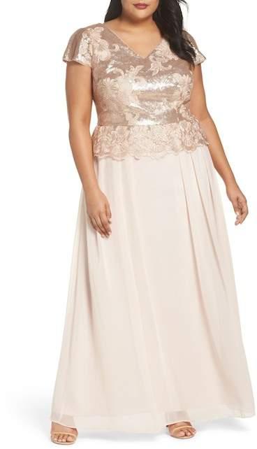 Sequin Bodice Gown (Plus Size)
