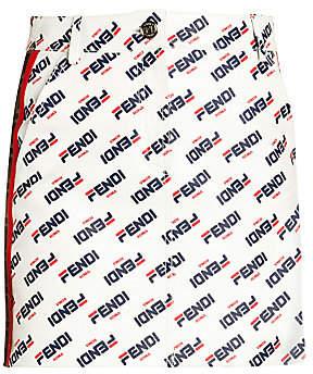 Fendi Women's Allover Mania Logo Leather Mini Skirt