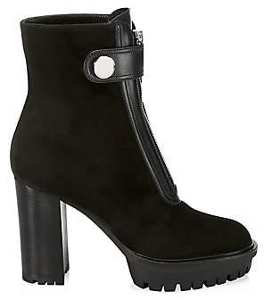 Gianvito Rossi Women's Zip-Up Suede & Leather Combat Boots
