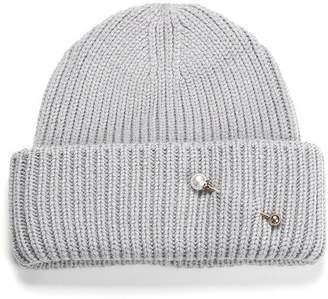 Soia & Kyo Anissa Rib Knit Hat With Folded Hem - Ash