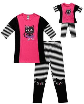 Dollie & Me Kitty Long Sleeve Tee And Legging, 2-Piece Outfit Set With Matching Doll Outfit (Little Girls And Big Girls)