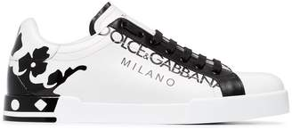 Dolce & Gabbana white and black portofino leather sneakers