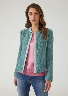 Emporio Armani Jacket In Boucle Wool With Tone-On-Tone Ottoman Trim