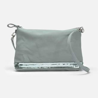 Vanessa Bruno Canvas and Sequins Zipped Crossbody Clutch in Nuage Cotton
