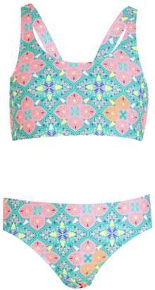 boohoo Girls Tile Print Crop Bikini Set