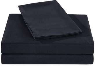 Honeymoon 1800 Brushed Microfiber Bed Sheet Set, Ultra Soft, Queen - Black