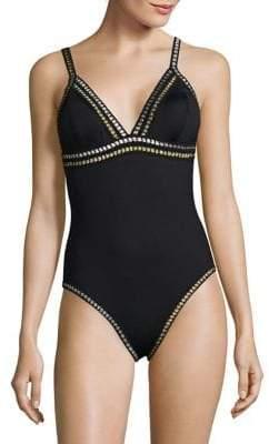 LaBlanca La Blanca Grossgrain Ribbon Trimmed One-Piece Swimsuit