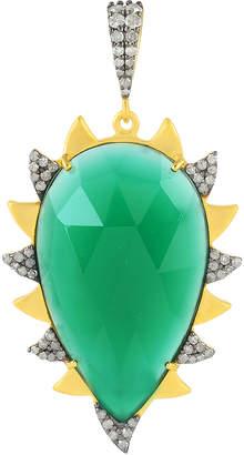 Meghna Jewels 18k Gold Green Onyx & Diamond Claw Pendant