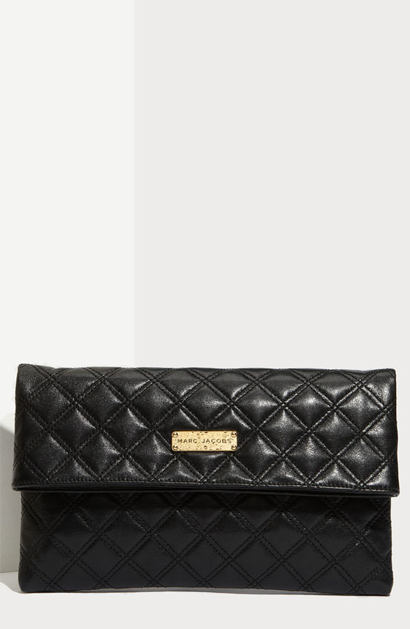 MARC JACOBS 'Large Eugenie' Quilted Leather Clutch