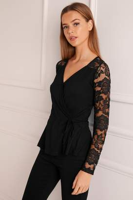Next Lipsy Long Sleeve Lace Wrap Top - 4