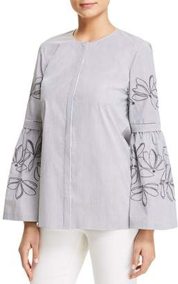 Lafayette 148 New York Roanna Striped Embroidered Blouse