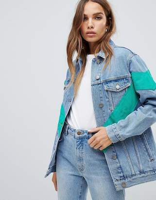 Asos (エイソス) - ASOS DESIGN denim jacket with chevron color block