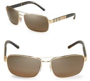 Burberry Canvas Check 63mm Aviator Sunglasses
