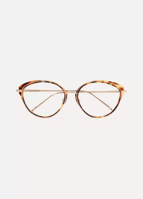 Linda Farrow Cat-eye Tortoiseshell Acetate And Rose Gold-tone Optical Glasses