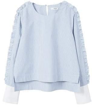 MANGO Ruffled stripe-patterned blouse