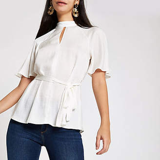 River Island White tie waist batwing sleeve blouse