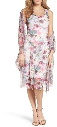 Women's Komarov Print Chiffon Dress With Shawl $398 thestylecure.com