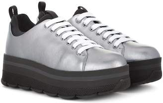 Prada Wave metallic leather platform sneakers