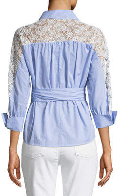 Romeo & Juliet Couture Wrap-Front Crochet-Back Blouse