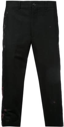 Comme des Garcons Pre-Owned paint splattered cropped trousers