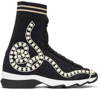 Fendi Black Pearl Sock High-Top Sneakers