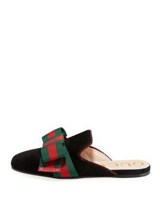 Gucci Suede Web Bow Flat Slide Mule
