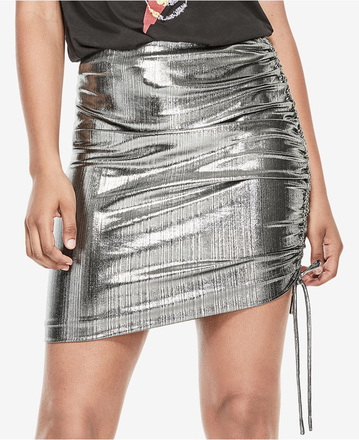 Guess Dex Metallic Ruched Skirt