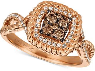 LeVian Le Vian Chocolatier Diamond Cluster Rope-Look Ring (3/8 ct. t.w.) in 14k Rose Gold