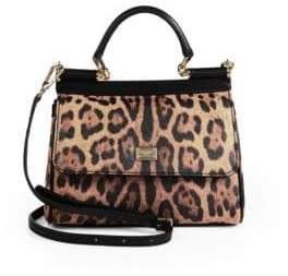 Dolce & Gabbana Sicily Leopard-Print Leather Top Handle Satchel
