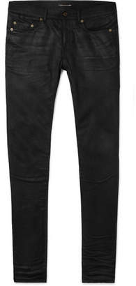 Saint Laurent Skinny-Fit 15cm Hem Coated Stretch-Denim Jeans