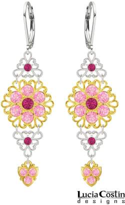 Swarovski Lofty Earrings by Lucia Costin with Triangle Shaped Filigree Accents, Fuchsia and Light Pink Crystals, Adorned with Dots and Lovely Charms; .925 Sterling Silver with 24K Yellow Gold Plated over .925 Sterling Silver