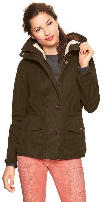 Gap Twill fleece-lined parka
