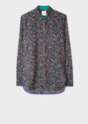 Paul Smith Women's Dark Navy 'Liberty' Print Cotton Shirt With Blue Cuff Lining