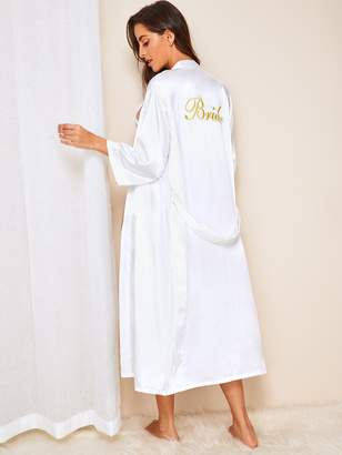 Shein Letter Embroidered Belted Longline Satin Robe