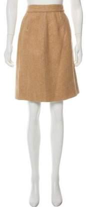 Dolce & Gabbana Alpaca-Mohair Knee-Length Skirt w/ Tags Khaki Alpaca-Mohair Knee-Length Skirt w/ Tags
