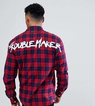 Just Junkies Check Zip Shirt With Trouble Maker Back Print