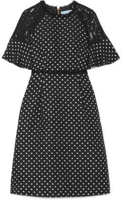 Draper James Shadow Lace-paneled Polka-dot Jacquard Dress