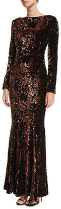 Talbot Runhof Lorena Sequined Velvet Long-Sleeve Gown