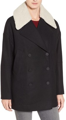 Women's Andrew Marc Cocoon Coat With Faux Shearling Collar $298 thestylecure.com