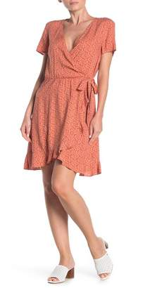 Como Vintage Abstract Dot Wrap Ruffle Dress