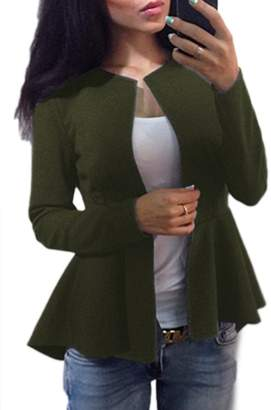 Vemubapis Women Elegant Long Sleeve Vintage Ireegular Autumn Swallow-Tailed Coat Blazer XS